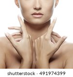 close up lips and shoulders of... | Shutterstock . vector #491974399