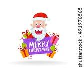 cute santa claus face. cartoon... | Shutterstock .eps vector #491976565
