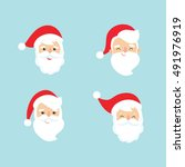 collection of christmas santa... | Shutterstock .eps vector #491976919
