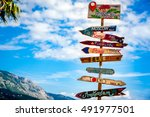 direction to different places... | Shutterstock . vector #491977501