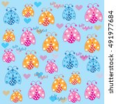 charming colorful ladybirds... | Shutterstock .eps vector #491977684