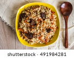 photo of dish of uzbek pilaf... | Shutterstock . vector #491984281