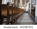 Church Aisle In Swiss Church.