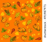 colorful vector hand drawn... | Shutterstock .eps vector #491987971