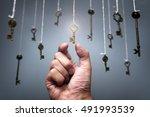 choosing the key to success... | Shutterstock . vector #491993539