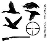 duck hunting set of flying... | Shutterstock .eps vector #491995915