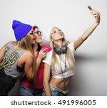 hipster girls best friends... | Shutterstock . vector #491996005