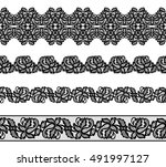 set of black lace borders on... | Shutterstock . vector #491997127