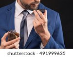 rich man prefers expensive... | Shutterstock . vector #491999635
