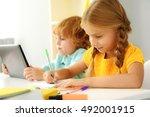 concentrated modern children... | Shutterstock . vector #492001915
