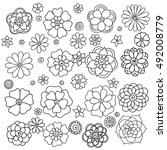 zentangle abstract flowers.... | Shutterstock .eps vector #492008779
