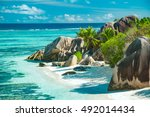the most beautiful beach of... | Shutterstock . vector #492014434