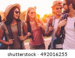 just friends and road ahead.... | Shutterstock . vector #492016255