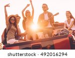 road trip fun. group of young... | Shutterstock . vector #492016294