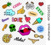fashion patch badges. stickers  ... | Shutterstock . vector #492016351