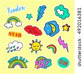 fashion patch badges. sky set.... | Shutterstock . vector #492016381