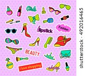 fashion patch badges. fashion... | Shutterstock . vector #492016465
