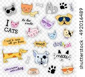 fashion patch badges. cats and... | Shutterstock . vector #492016489