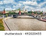 scenic aerial view over moskva... | Shutterstock . vector #492020455