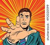retro man missing a hand pop... | Shutterstock .eps vector #492020599