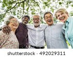 group of senior retirement... | Shutterstock . vector #492029311