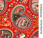 colorful paisley seamless... | Shutterstock .eps vector #492030631