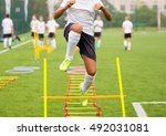 boy soccer player in training.... | Shutterstock . vector #492031081