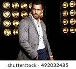 portrait of sexy handsome... | Shutterstock . vector #492032485