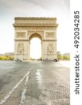 triumphal arch in paris city at ... | Shutterstock . vector #492034285