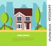 modern stylish suburb landscape ... | Shutterstock .eps vector #492034699