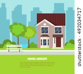 modern stylish suburb landscape ... | Shutterstock .eps vector #492034717