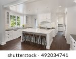 white kitchen interior with... | Shutterstock . vector #492034741