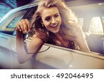 attractive blonde beauty in an... | Shutterstock . vector #492046495