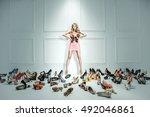 attractive blonde beauty next... | Shutterstock . vector #492046861