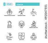 flat symbols about startup.... | Shutterstock .eps vector #492047551