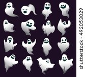 cartoon spooky ghost character... | Shutterstock .eps vector #492053029