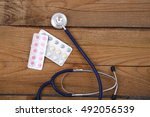 medical stethoscope and tablets ... | Shutterstock . vector #492056539