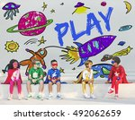 kids imagination space rocket... | Shutterstock . vector #492062659