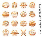 bakery badges and logo icon... | Shutterstock .eps vector #492065674