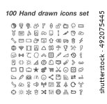 100 hand drawn icons set | Shutterstock .eps vector #492075445