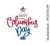 happy columbus day. the trend... | Shutterstock . vector #492076159
