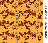 halloween pattern   | Shutterstock .eps vector #492085141