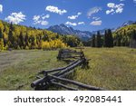 fence to face   a rustic... | Shutterstock . vector #492085441