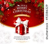 vector vintage christmas... | Shutterstock .eps vector #492086329