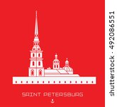 peter and paul cathedral  ... | Shutterstock .eps vector #492086551