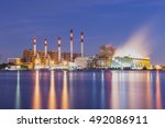 power station and river at dusk | Shutterstock . vector #492086911