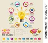 money saving planning info... | Shutterstock .eps vector #492089647