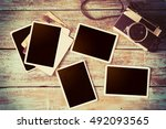 retro camera and empty old... | Shutterstock . vector #492093565