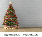 christmas tree and gift gold in ... | Shutterstock . vector #492095365