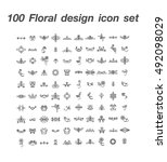 100 floral design icon set | Shutterstock .eps vector #492098029